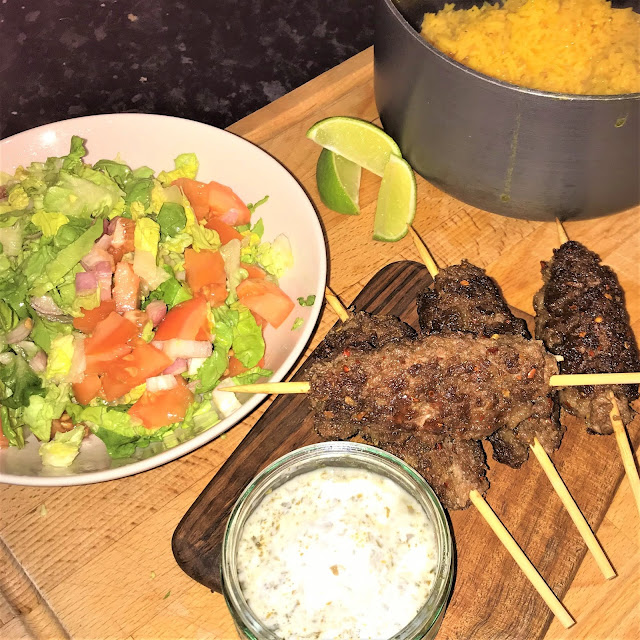 Gousto Spiced Seekh Kebabs, Rice & Zesty Salad