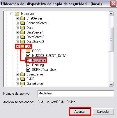 Seleccionado la base de datos a restaurar