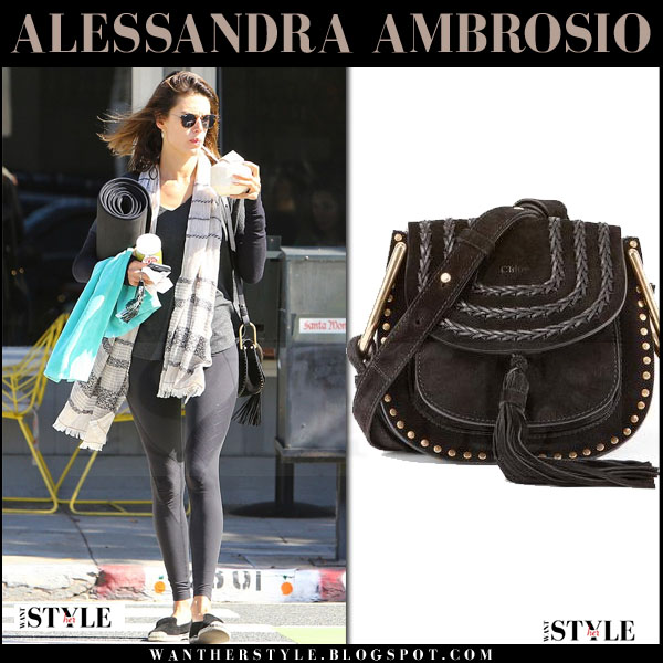 Alessandra Ambrosio with black suede Chloe Hudson mini saddle bag what she wore streetstyle 2016