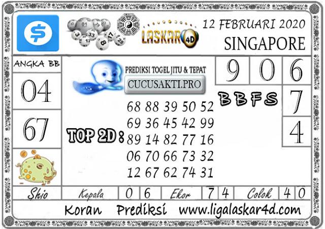 Prediksi Togel SINGAPORE LASKAR4D 12 FEBRUARI 2020