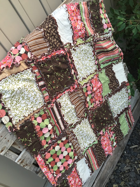 Salmon Pink and Chocolate Brown Baby Quilt for Girl Rag Quilt