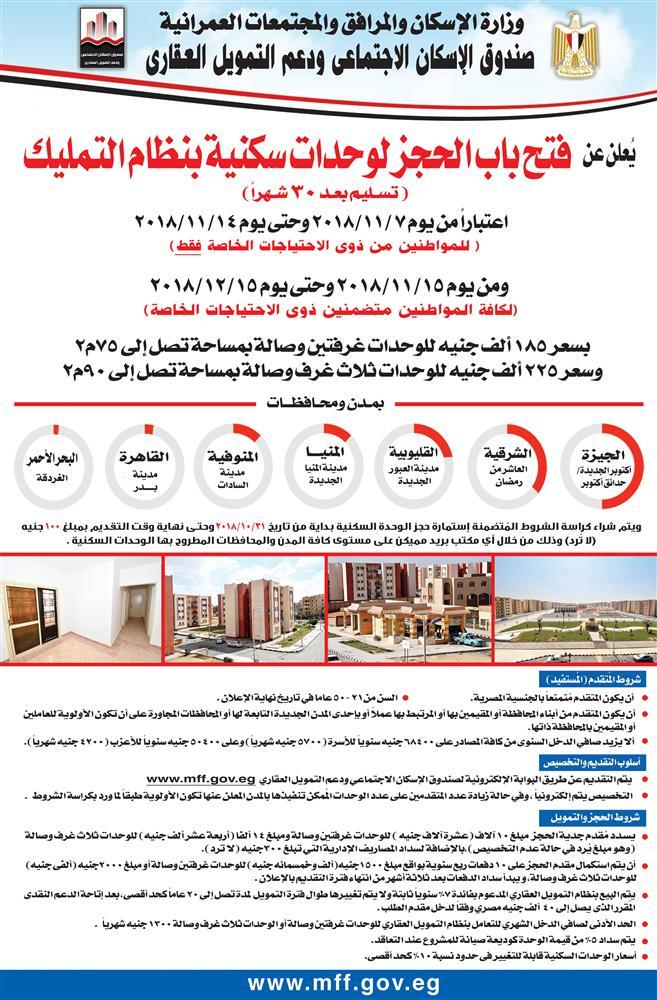 وزارة الاسكان تعلن عن فتح باب الحجز لوحدات سكنية بنظام التمليك تسليم بعد 30 شهراً
