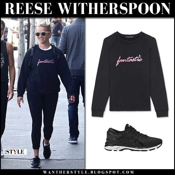 Reese Witherspoon in black sweatshirt, black leggings and sneakers asics casual street style april 9