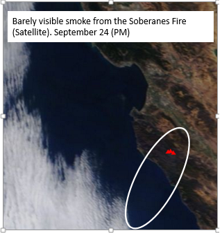 A satellite image of smoke from the fire yesterday. Smoke was light enough to be not very visible to the satellite