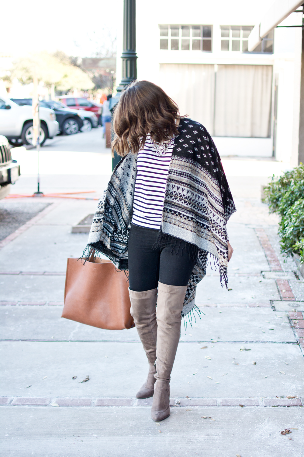 winter style, poncho, over the knee boots, stuart wizeman boots dupe, blogger, layers, winter outfit ideas, how to wear a blanket scarf, outfit of the day, dallas blogger