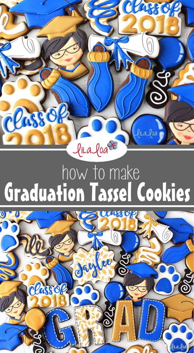 decorated chocolate sugar cookies with a graduation theme