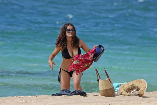 Salma Hayek Bikini at a Beach