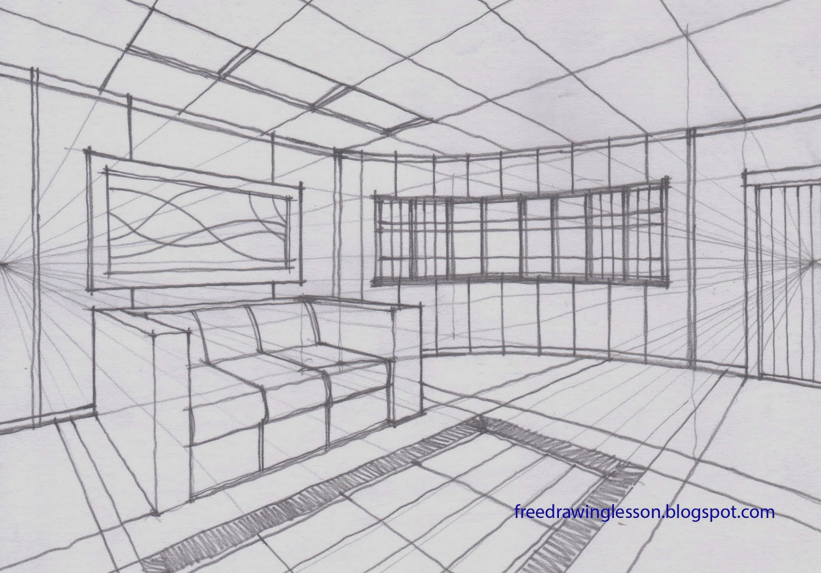 One Point Perspective Bedroom Drawing Best House Interior Today