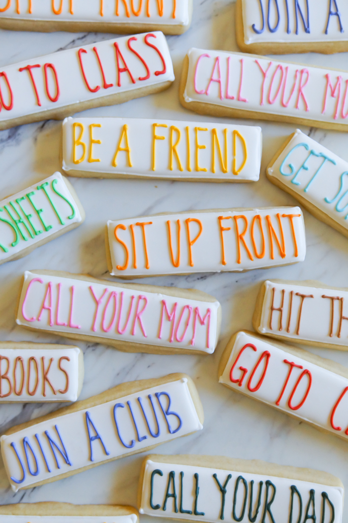college advice decorated cookies, perfect for care packages! | bakeat350.net