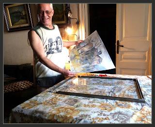 EXPOSICIÓ-PINTURA-ART AL JARDÍ-PINEDA DE BAGES-PREPARATIUS-MARCS-QUADRES-FOTOS-PINTOR-ERNEST DESCALS