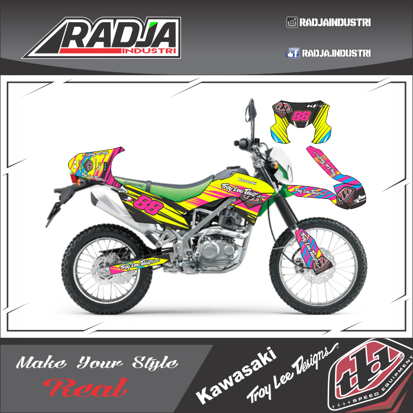 Stiker motor klx 150 bf g new troy lee designs