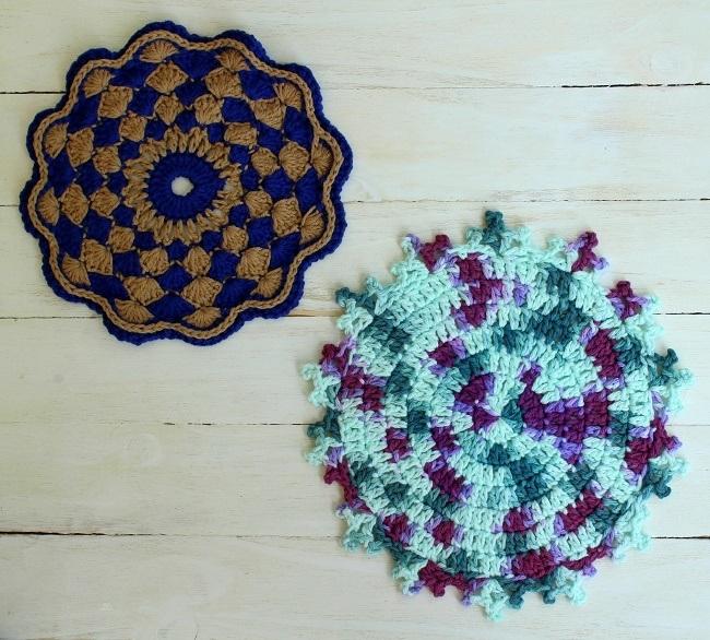 2 crochet mandalas from the mandalas book by Haafner