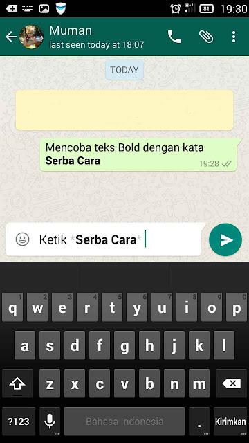 Cara Teks Bold di WhatsApp