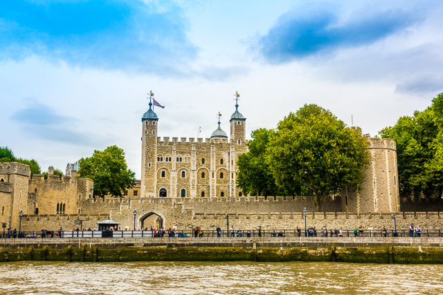 View of Tower of London from Thames River Boat - London, England