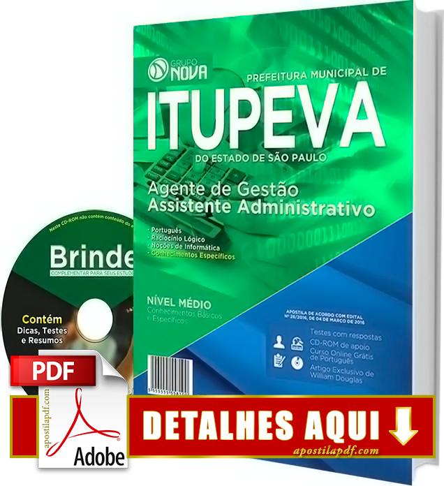 Apostila Prefeitura de Itupeva 2016 Assistente Administrativo Impressa