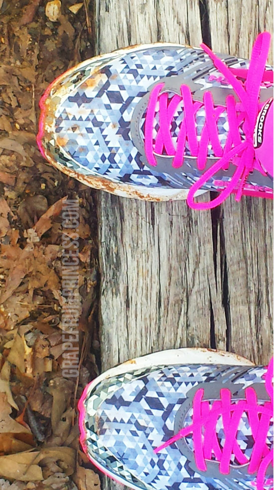 brooks, running, shoes, fitness, exercise, launch3, wordless wednesday, pink, grey, track, trail