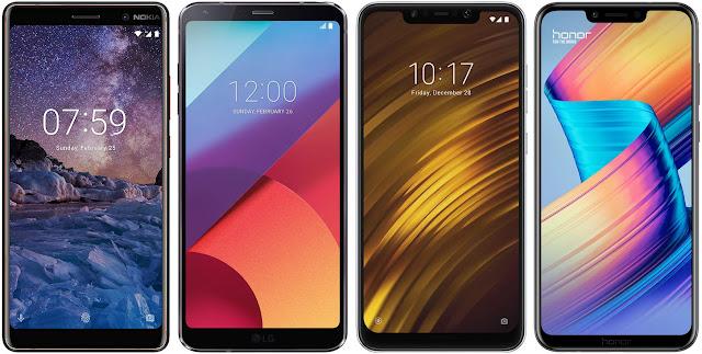 Nokia 7 Plus vs LG G6 vs Xiaomi Pocophone F1 vs Honor Play