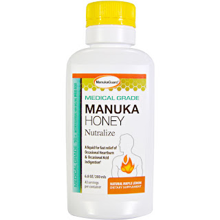 شراب عسل المانوكا لعلاج حرقة المعدة وعسر الهضم Manuka Guard, Manuka Honey, Medical Grade, Natural Maple Lemon, 6.8 oz (200 ml)