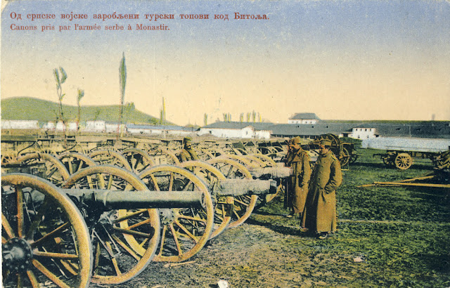 Captured Turkish cannons in Bitola during the First Balkan War Battle of Bitola (Battle of Monastir) - 16 to 19 November 1912