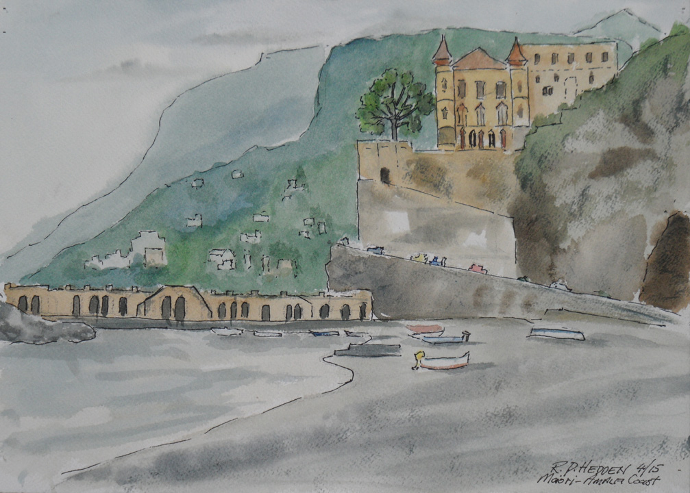 Robert P Hedden Art: Painting The Amalfi Coast, Maiori Italy