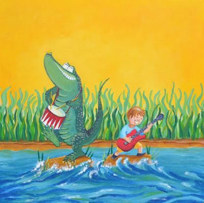 Décoration de chambre room crocodile rock guitar illustration jeunesse children