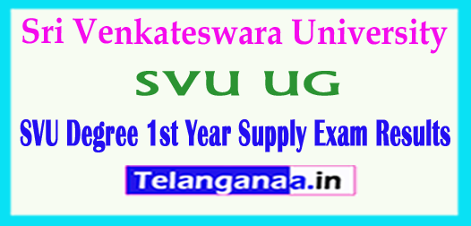 SVU UG Sri Venkateswara University Degree 1st Year Supply Exam Results 2018
