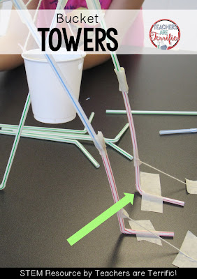 STEM Challenges: This amazing challenge uses one basic material- Straws! Add a few more items and see if your students can build a suspended bucket that will hold weight! This team used the bendy part of a straw to help their tower stand up!