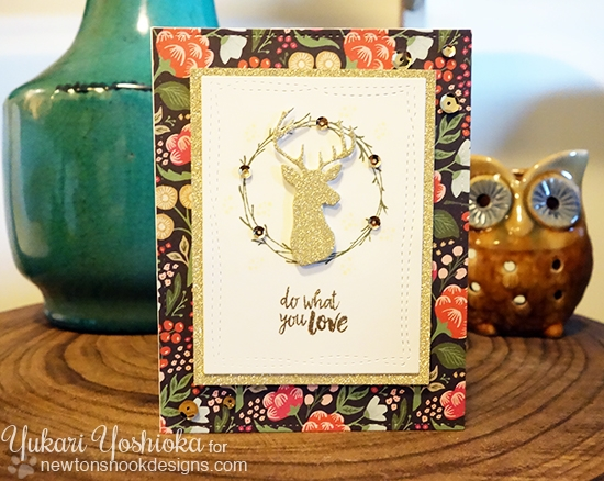 Do What You Love Gold Deer Card by Yukari Yoshioka | Splendid Stags Die Set & Happy Little Thoughts Stamp set by Newton's Nook Designs #newtonsnook #stag #deer