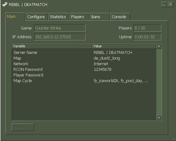 Half life server commands
