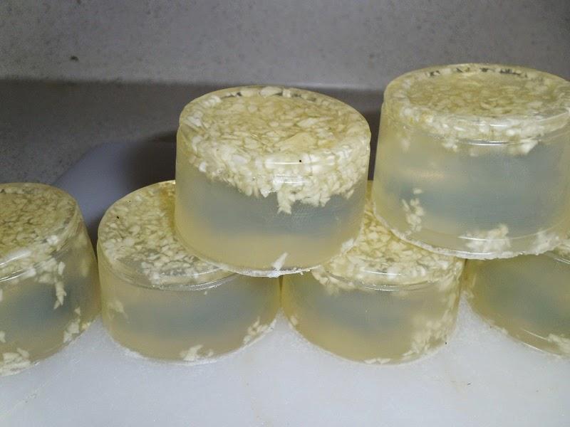Closer up garlic soap pyramid