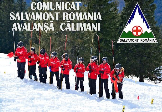 Comunicat Salvamont România în legătură cu avalanșa din Munții Călimani