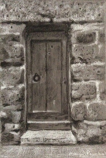 Charcoal and white pastel pencil of a rustic wooden door by Manju Panchal