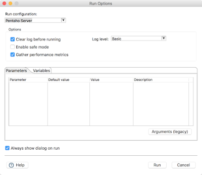 run config dialog Announcing Pentaho 8.0   Coming in November to a theater near you!