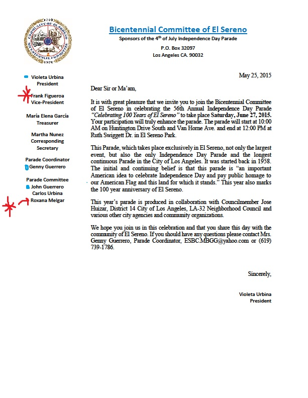 Mayor sams sister city home of los angeles politics june 2016 bicentennial committee letter listing its board of directors spiritdancerdesigns Gallery