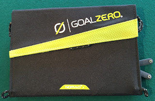 Goal Zero Nomad 7 Solar Panel folded up is about the size of a book