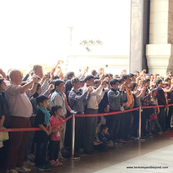 visitors filming changing of the guard ceremony at National Chiang Kai-shek Memorial Hall in Taipei, Taiwan