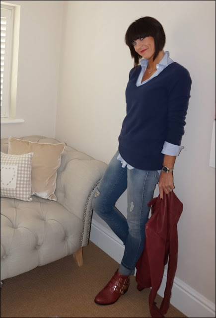 My Midlife Fashion, Zara stripe oversized shirt, boden relaxed fit cashmere, zara distressed skinny jeans,mango leather biker jacket, office lucky charm boots