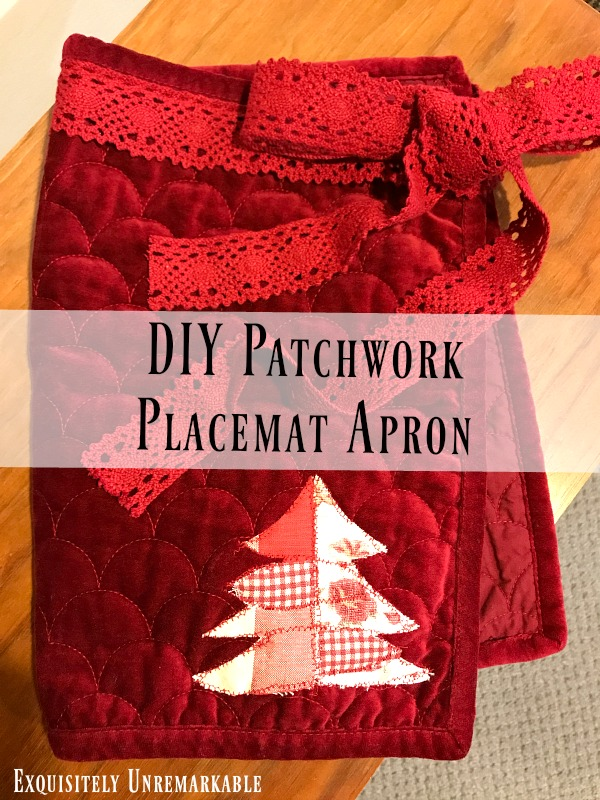 DIY Patchwork Placemat Apron Text over finished Apron Upcycle
