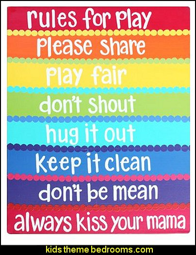 Rules For Play: Kids Home Decor Canvas Wall Art for Playroom, School, or Daycare