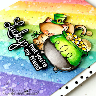 Lucky That You're My Friend Card by Samantha Mann for Newton's Nook Designs, St Patrick's Day, Distress Inks, Lucky, Luck, Cards, handmade cards #newtonsnook #cards #stpatricksday #lucky #cardmaking #distressinks