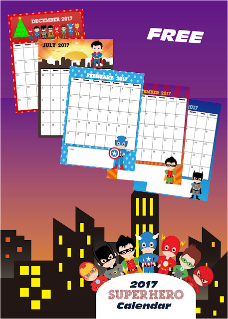 FREE Super Hero 2017 Calendar - This is such a cute free printable calendar for toddler, preschool, kindergarten, 1st grade, and 2nd grade kids. Perfect for homeschool