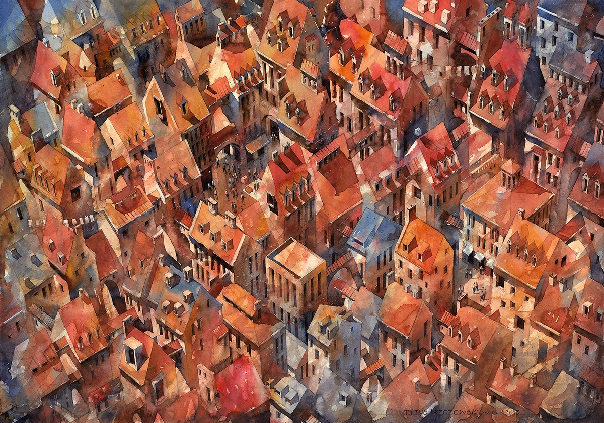 14-Rooftops-Tytus-Brzozowski-Architecture-Meets-Watercolors-Paintings-in-Warsaw-www-designstack-co