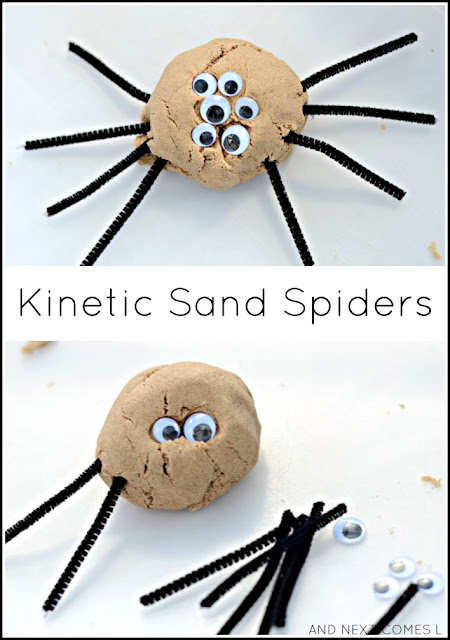 Kinetic sand spiders fine motor sensory activity for toddlers and preschoolers from And Next Comes L