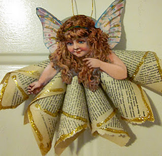 Vintage book page Angel ornament