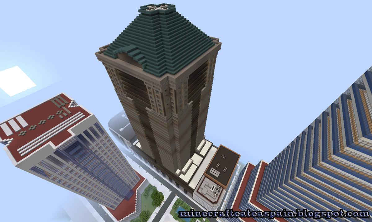 Minecrafteate r plica minecraft del rascacielos 60 wall for Oficinas banco santander oviedo