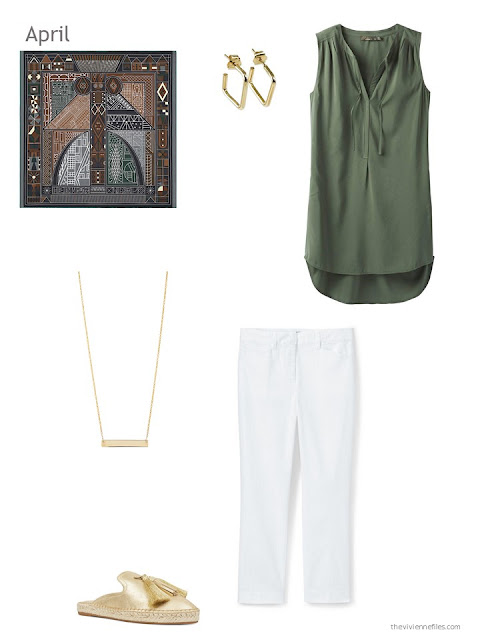 warm weather outfit in olive green and white