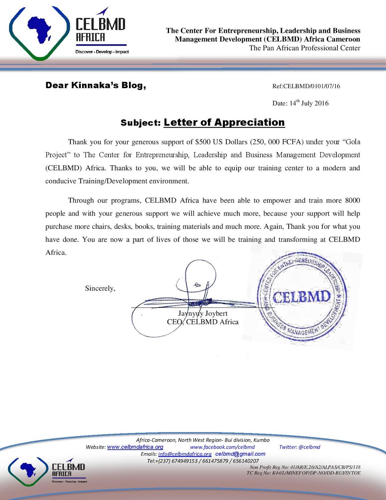 kinnaka s blog winner of the gola project javynyuy joybert winner of the gola project javynyuy joybert celbmd sends kinnaka s blog an appreciation letter