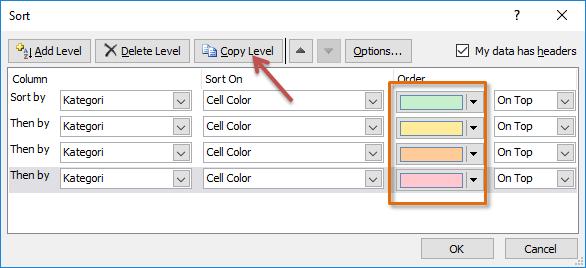 cara sortir berdasarkan warna sel