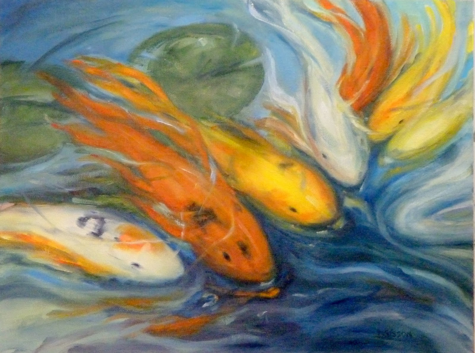 Daily painting projects koi school fish oil painting koi for Koi fish canvas art