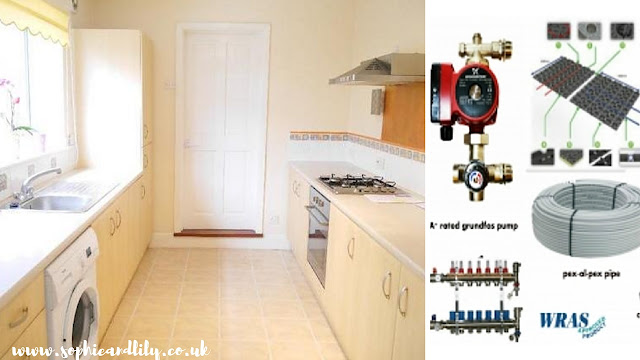 kitchen and example of some components used for underfloor heating installation